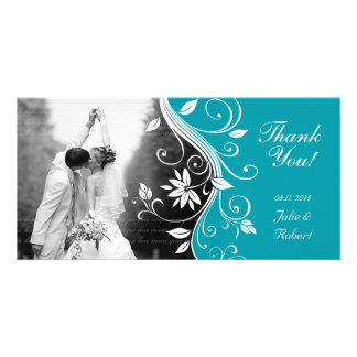 Floral Wedding Thank You Card Custom Blue Photo Card Template