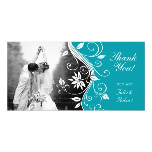 Floral Wedding Thank You Card Custom Blue Photo Cards
