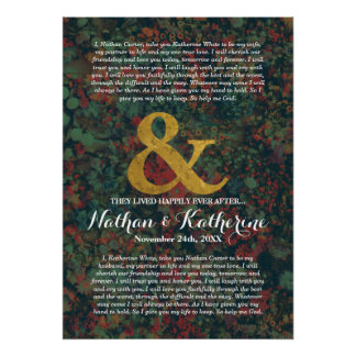 Floral Wedding Vows Ampersand Happily Ever After Poster