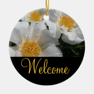 Floral Welcome Door Sign Round Ceramic Ornament