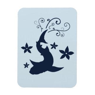 Floral Whale Shark Vector Art Flexible Magnet