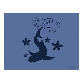 Floral Whale Shark Vector Art Postcard