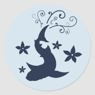 Floral Whale Shark Vector Art Stickers