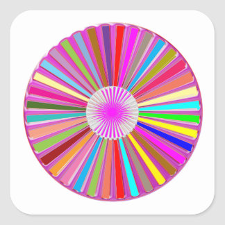 FLORAL Wheel Chakra Colorful Decorations Square Sticker
