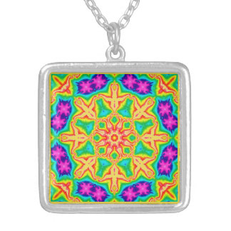 Floral Wheel Square Necklace