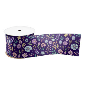 Floral Whimsical Boho Pattern Satin Ribbon