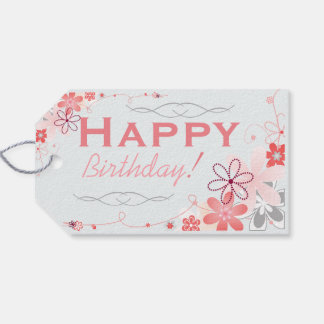 Floral Whimsy Birthday Gift Tags