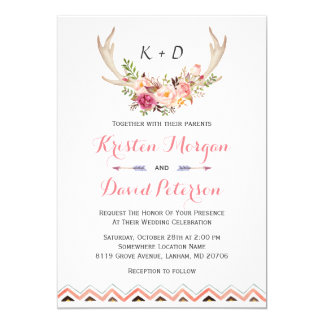 "Floral White Antler Ethnic Boho Decor Wedding 5"" X 7"" Invitation Card"