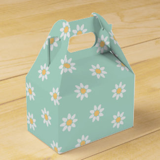 Floral White Daisies Mint Green Wedding Favor Box