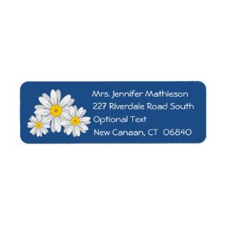 Floral White Daisy Flower Blue Return Address