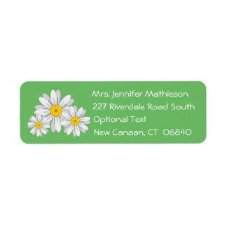 Floral White Daisy Flower Green Return Address