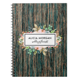 Floral white frame marble notebook