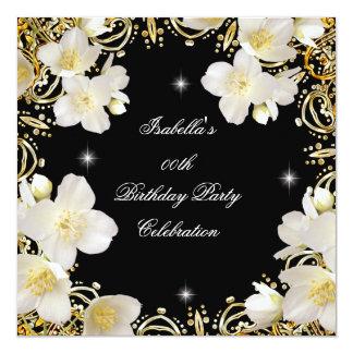 "Floral White Gold Black Elite Women's Birthday 5.25"" Square Invitation Card"