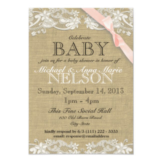"Floral White Lace and Bow Baby Shower Blush Pink 5"" X 7"" Invitation Card"