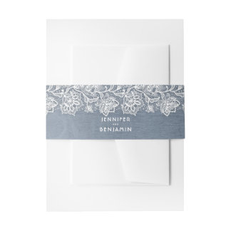 Floral White Lace and Dusty Blue Wedding Invitation Belly Band