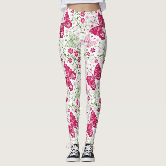 Floral White Pattern Leggings