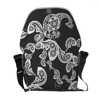 Floral White Peacock Vintage Pattern Vector Art Messenger Bag
