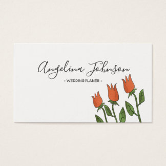 Floral White Pure Tulips Red Naive Art Simple Chic Business Card