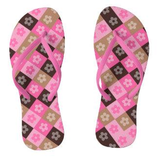 Floral Wide Straps, Womens 4 - Mens 3 Flip Flops