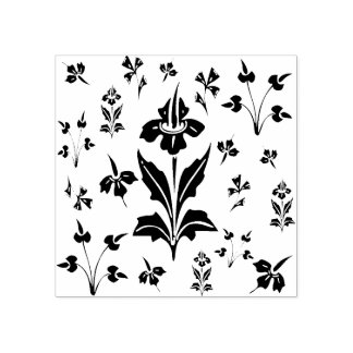 Floral Wildflowers Flowers Botanical Pattern Rubber Stamp