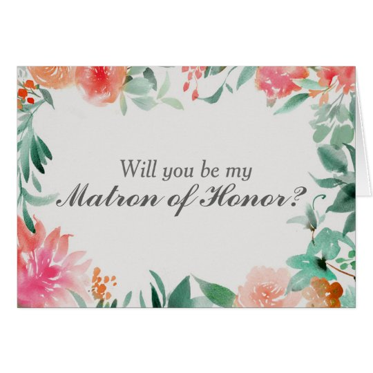 Floral Will You Be My Matron of Honour Card