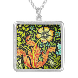 Floral William Morris Silver Plated Necklace