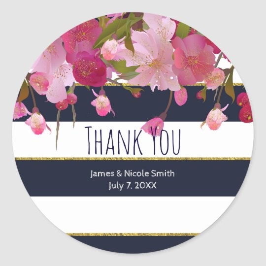 Floral with Faux Gold Glitter Modern Bridal Shower Classic Round Sticker