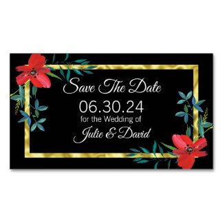 Floral with Faux Gold Save the Date Wedding Magnet