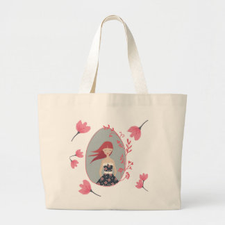Floral woman large tote bag