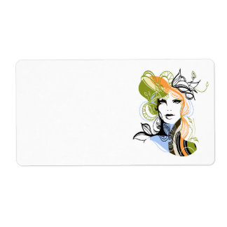 Floral Woman Shipping Label