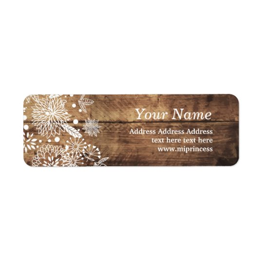 floral wood rustic return address stickers