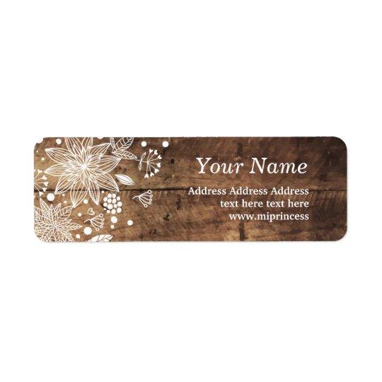 floral wood rustic return address stickers