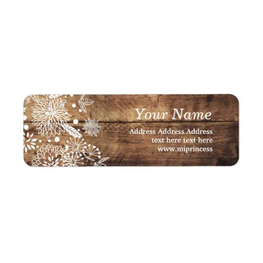 floral wood rustic return address stickers return address label