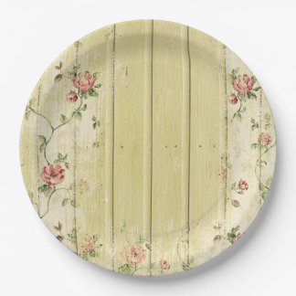 Floral & Wood Shabby Chic Paper Plate