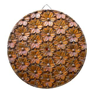 Floral Woodcarving Door Panel Closeup background Dartboard