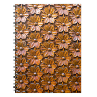 Floral Woodcarving Door Panel Closeup background Notebooks