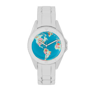 Floral world map with pretty vintage rose flowers wristwatches