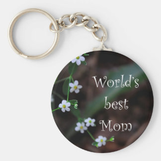 "Floral ""World's Best Mom"" Key Chain Gift"