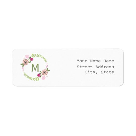 Floral Wreath Address Label