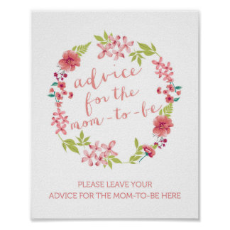 Floral Wreath Advice for the Mom-to-Be Sign