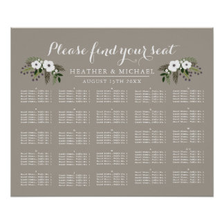 Floral Wreath - Alphabetical Seating Chart
