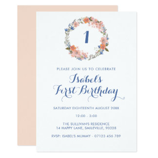 Floral Wreath Any Age Birthday Party Invitation