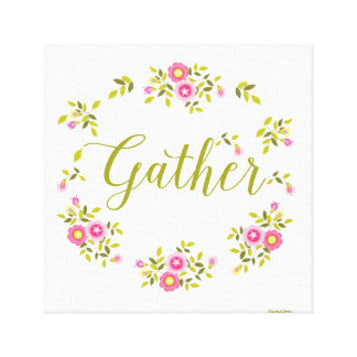 """Floral wreath art canvas with word""""Gather"""""""