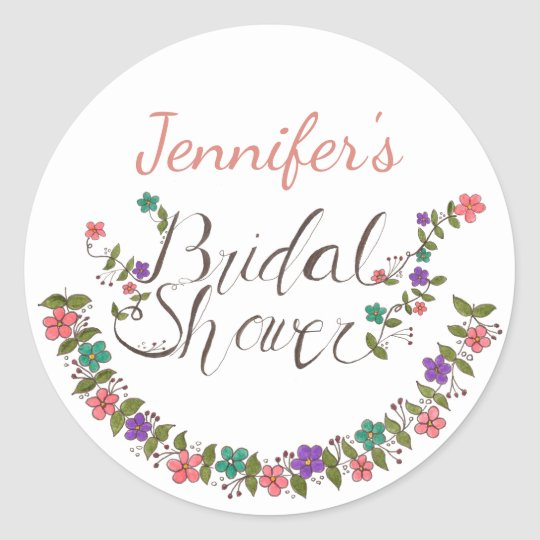 Floral Wreath Bridal Shower With Name Classic Round Sticker