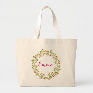 Floral Wreath Bride Monogram Personalized Large Tote Bag