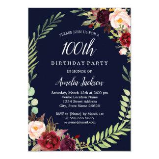 Floral Wreath Burgundy Navy 100th Birthday Card