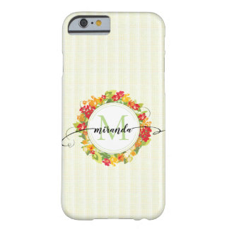 Floral Wreath Calligraphy Monogram Barely There iPhone 6 Case