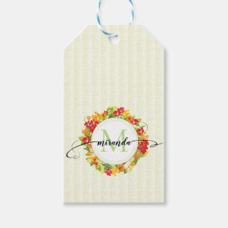 Floral Wreath Calligraphy Monogram Gift Tags