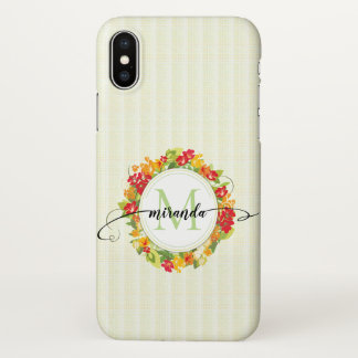 Floral Wreath Calligraphy Monogram iPhone X Case