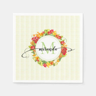 Floral Wreath Calligraphy Monogram Paper Napkin